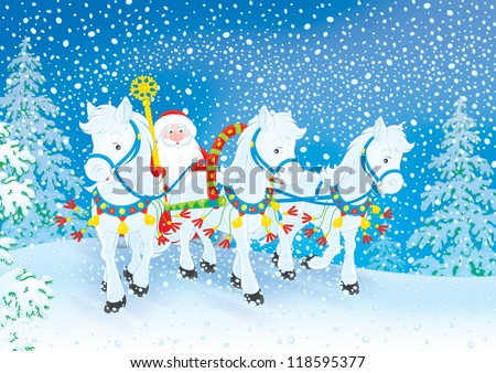 Grandfather Frost in his sledge pulled by three white horses through a snowy forest