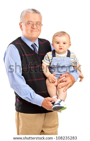 Grandfather holding his grandson, isolated on white background