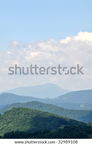 Grandfather Mountain, North Carolina in Summer Vertical With Copy Space