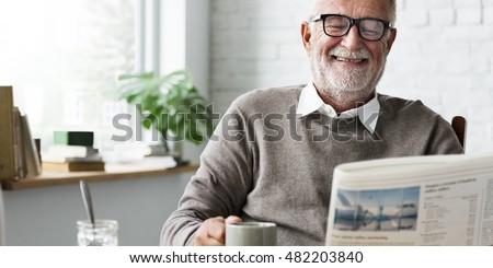 Grandfather Newspaper Coffee Retirement Man Concept