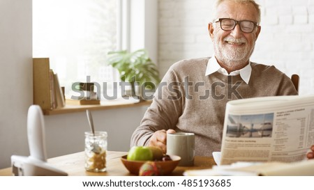 Grandfather Newspaper Coffee Retirement Man Concept Сток-фото ©