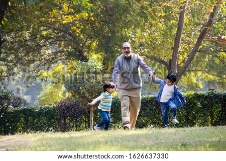 Grandfather playing with grandchildren at park