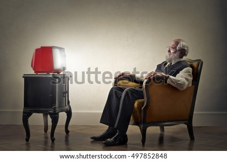 Grandfather watching tv