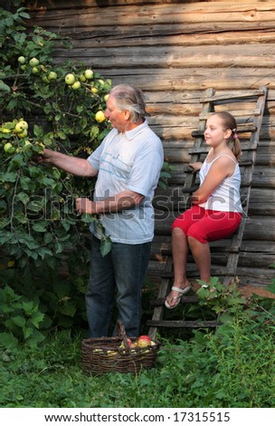 grandfather with girl in garden