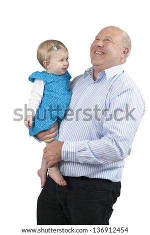 grandfather with granddaughter, isolated on white background