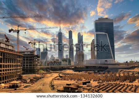 Grandiose construction in Dubai the United Arab Emirates