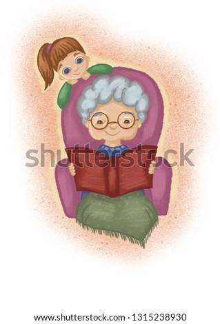 Grandma and granddaughter. Grandma reading book to her child. Family Illustration