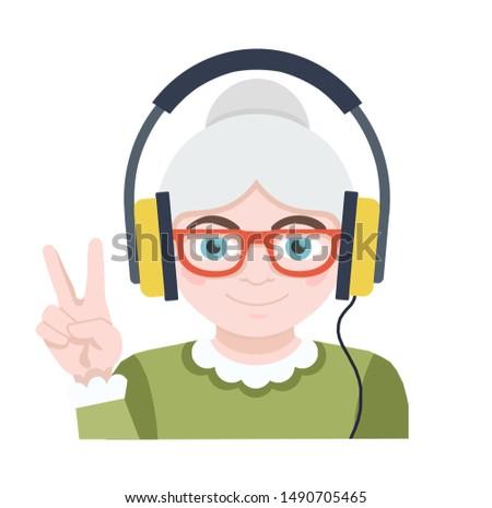 Grandma listens to music. Advanced user flat icon Foto stock ©