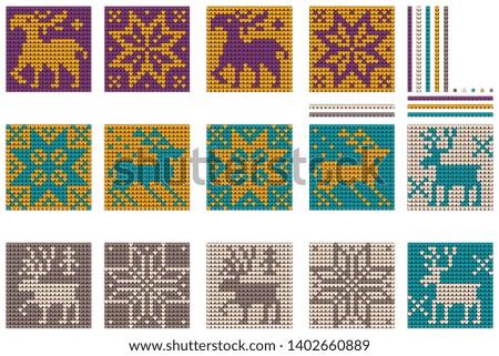 Grandmas New Year bunddle of Christmas Ugly Sweater knitting deer patterns