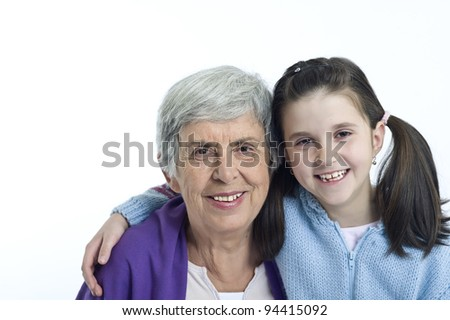 Grandmother and granddaughter beautiful portrait