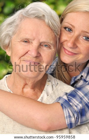 Grandmother and granddaughter. MANY OTHER PHOTOS WITH THIS SENIOR MODEL IN MY PORTFOLIO.
