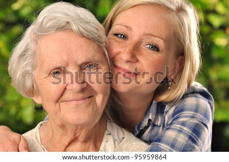 Grandmother and granddaughter MANY OTHER PHOTOS WITH THIS SENIOR MODEL IN MY PORTFOLIO