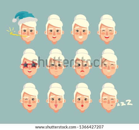 Grandmother constructor set of grannies heads smiling cartoon granny with different emotions raster emoji grandma isolated on grey sad and happiness