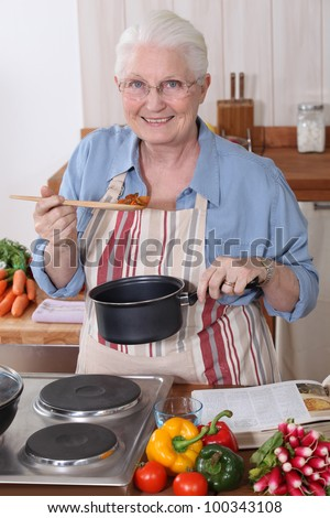 Grandmother cooking.