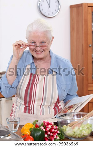 grandmother cooking in the kitchen