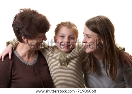 Grandmother, daughter and granddaughter portrait isolated over white background