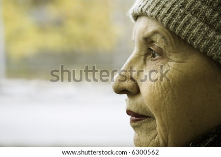 grandmother, focus point on the eye