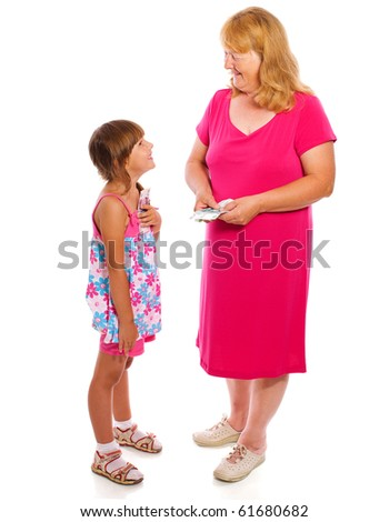 Grandmother giving money to child isolated on white