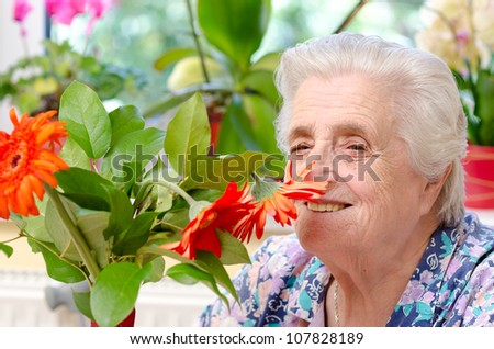 Grandmother with flowers