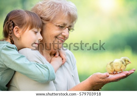 Grandmother with grandaughter are playing with chickens outdoors.