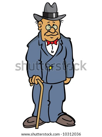 grandpa - older man wearing a suit, with glasses, a hat, and a cane