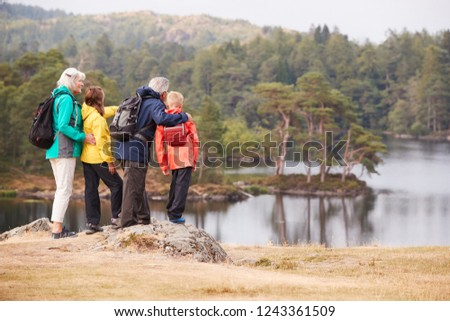 Grandparents and grandchildren standing on a rock admiring the view of a lake, back view, Lake District, UK