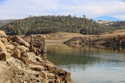 Granite and River Valley Along the North Fork of the American River and Folsom Reservoir at Low Water in California