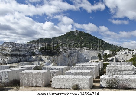 granite blocks extracted from a quarry