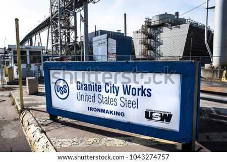 Granite City, Illinois, United States-March 10, 2018-US Steel Ironmaking facility, Granite City Works, Illinois, signage with factory in background