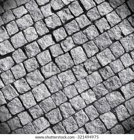 Granite cobble bricks floor  Architecture background texture