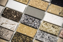 Granite countertops slabs made of natural stone - kitchen remodeling concept