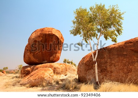 granite eroded rock formation, big stone pebbles geology by erosion Devils Marbles Northern Territory Australia landmark in Aboriginal culture tourism destination in outback white gum tree