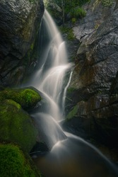 Granite gorge sculpted by a waterfall in the Ribeira Sacra de Chantada