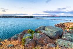 Granite Island rugged coastline at dusk, Victor Harbor, South Australia