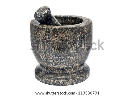 Granite mortar and pestle isolated on white