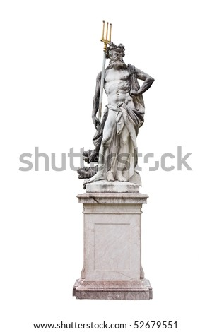 Granite Poseidon sculpture isolated on white background