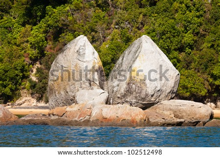 Granite rock formation of Split Apple Rock near Abel Tasman National Park, South Island, New Zealand