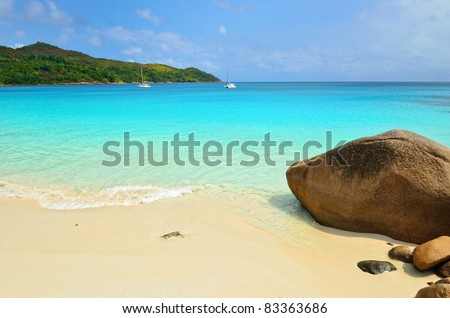 Granite rocky beaches on Seychelles islands, Praslin, Anse Lazio