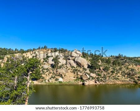 Granite Springs Reservoir, Cheyenne Wyoming, Curt Gowdy State Park, Crow Creek Trail Imagine de stoc ©