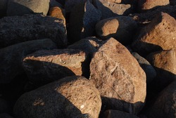 Granite stones in the rays of the setting sun. Autumn evening, the coast of the Gulf of Finland. There are many stones of different shapes and colors. The slanting rays of the setting sun painted ever