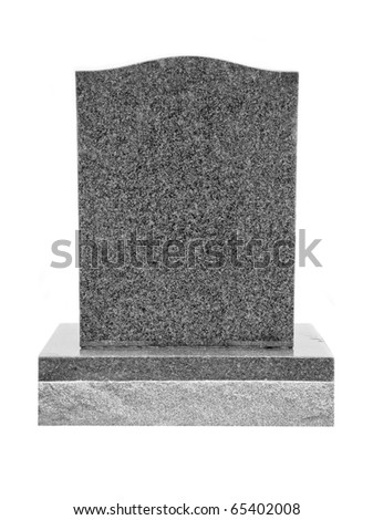 Granite Tombstone Isolated on White