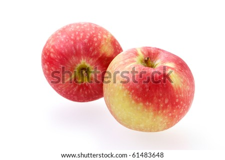 Granny smith apples isolated on a white background with reflection and moisture