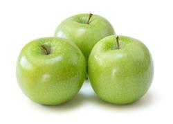 granny smith apples over white background