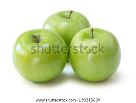 granny smith apples over white background