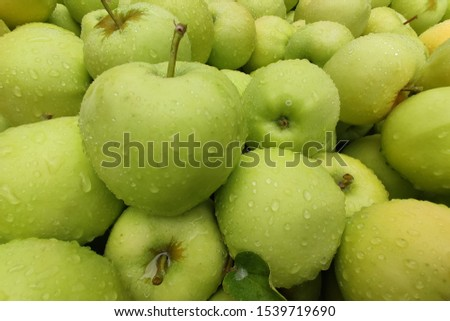 Granny Smith apples. Texture and Close-up of green apples with raindrops.