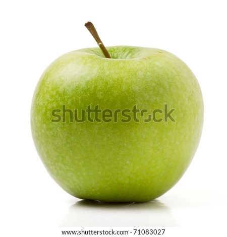 Granny Smith variety of apple from low perspective isolated on white.