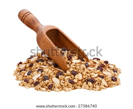 Granola, Almonds, and Raisins isolated on white