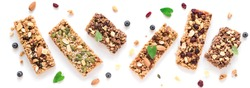 Granola bars assortment isolated on white background, banner. Homemade healthy snack - granola superfood bars.