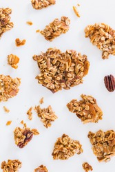 Granola Clusters on the White Background