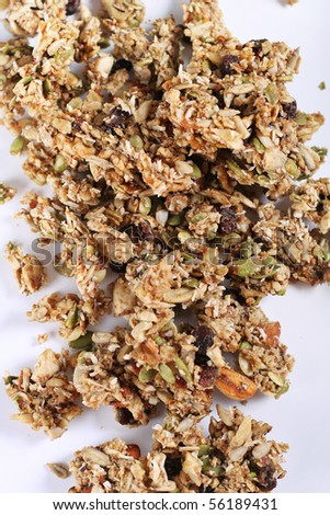 granola on white background vertical